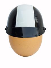 egg in helmet