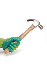 hand with hammer isolated on a white background