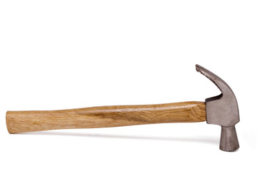 Close up view of a hammer isolated on a white background.