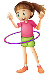A young girl playing hulahoop