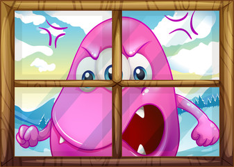 An angry pink monster outside the window