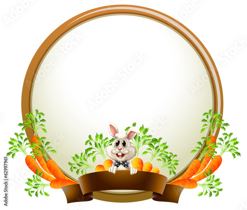 A round empty template with a rabbit