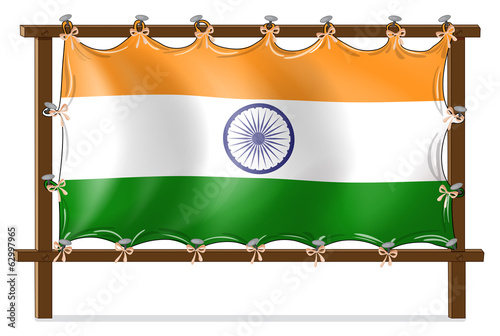 A wooden frame with the flag of India