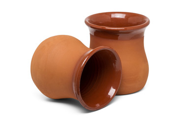 traditional medieval clay cups for drinking