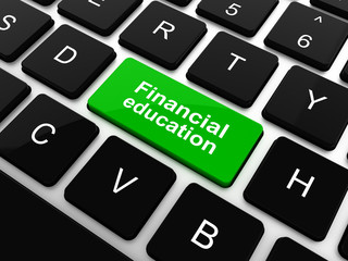 Education concept: computer keyboard with word Financial