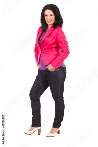 Casual woman in pink jacket