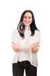 Laughing woman catch big soap bubble