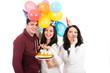 Happy friends celebrate woman birthday