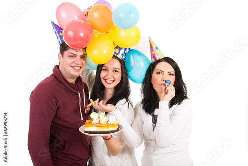 Happy friends celebrate woman birthday