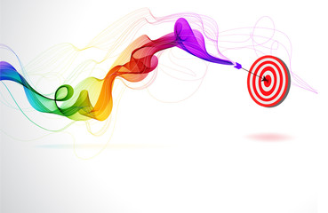 Abstract colorful background with Arrow Hitting A Target