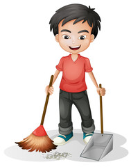 A boy sweeping the dirt