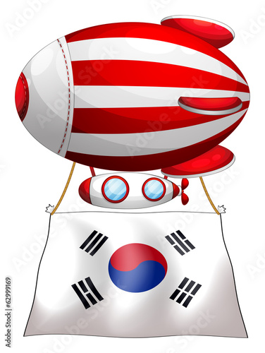 A floating balloon with the Korean flag