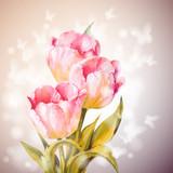 Fototapety Tulips flowers background.