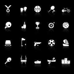 Sport game athletic icons with reflect on black background