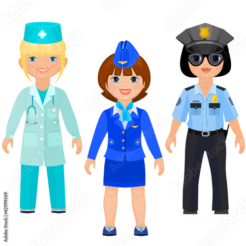 Pretty girls in uniform of doctors, police, stewards