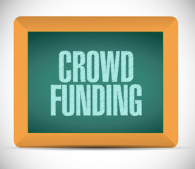 crowd funding message on a board. illustration