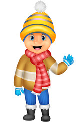 Cartoon illustration of a boy in Winter clothes waving
