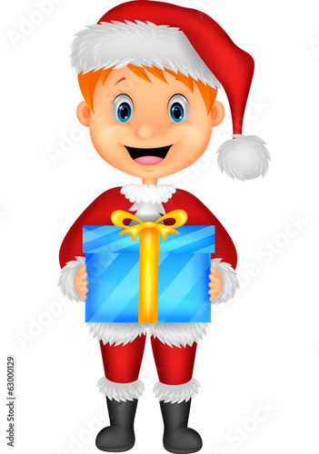 Cartoon illustration of a boy in red clothes holding gift