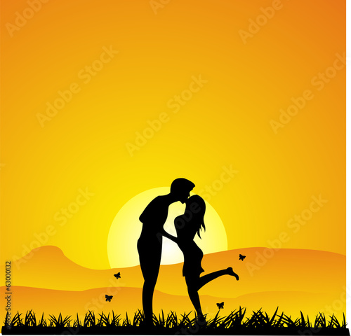 Sunset Kissing silhouette