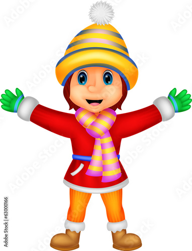 Cartoon illustration of a girl in Winter clothes waving
