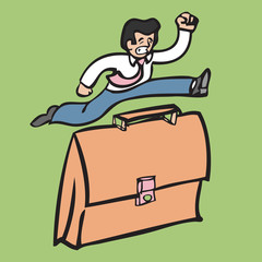 Businessman jumping over suitcase