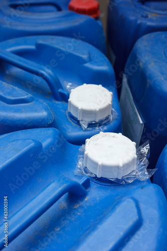Lid of blue chemical plastic