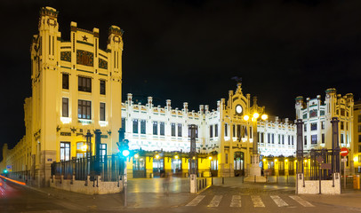 North station (Estacio del nord) in night. Valencia