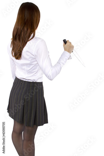 young girl holding a knife on white background for composites