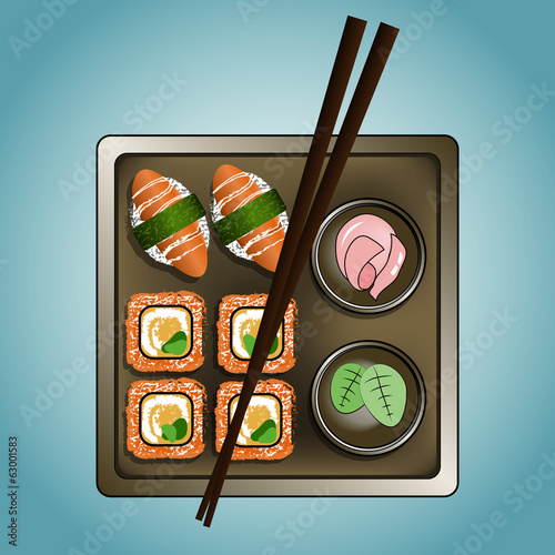 Square plate of sushi, rolls and chopsticks