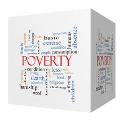 Poverty 3D cube Word Cloud Concept