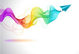 Abstract colorful background with paper air plane and wave