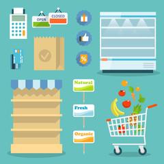Supermarket food shopping internet concept