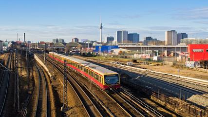 Cityscape with railroads in Berlin, Germany