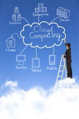business man draw cloud computing chart