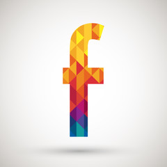 F symbol with colorful diamond