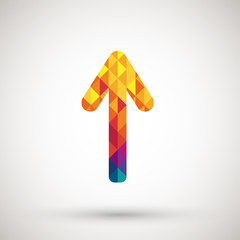 arrow symbol with colorful diamond