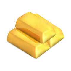 Golden ingots realistic icon