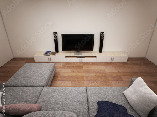 Interior of room with TV and sofa