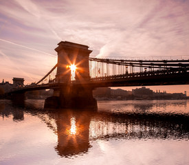 Chain Bridge against sunrise in Budapest, Hungary