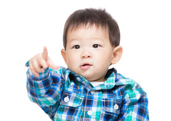Asian baby boy point front