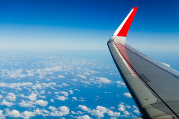 Wing of the plane on sky backgroun