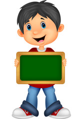 Cartoon boy holding board