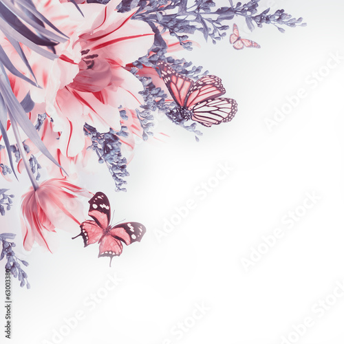 Red tulips  and  butterfly. Floral background.