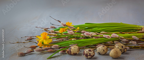 Yellow daffodils and willow twigs. Selective sharpness of the fl