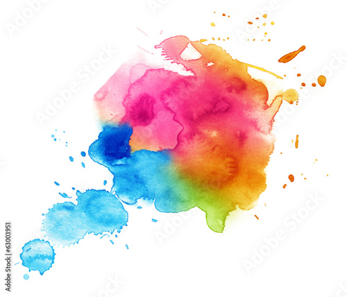 Colorful watercolor drop on a white background