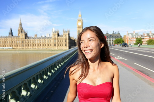 London woman happy in summer