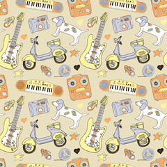 Doodle summer seamless background