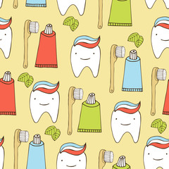 Dental care seamless background