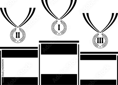 pedestal with medals. stencil. first variant