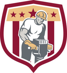 Construction Worker Jackhammer Shield Retro